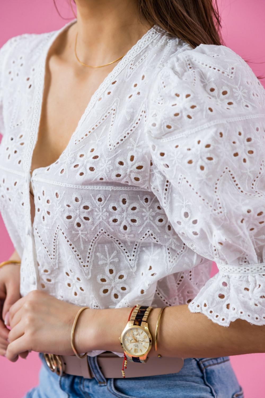 Biała ażurowa luźna bluzka V-Neck Cornelia 3