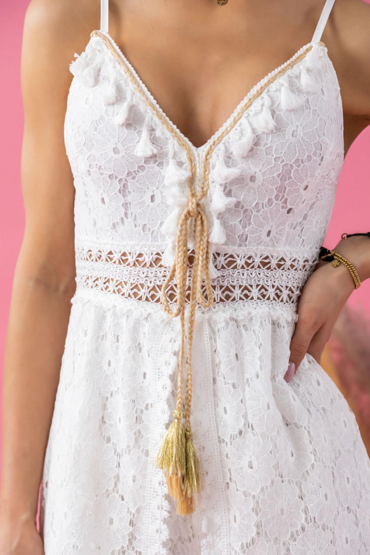 Biały letni kombinezon plażowy ażurowy boho Felicia 3