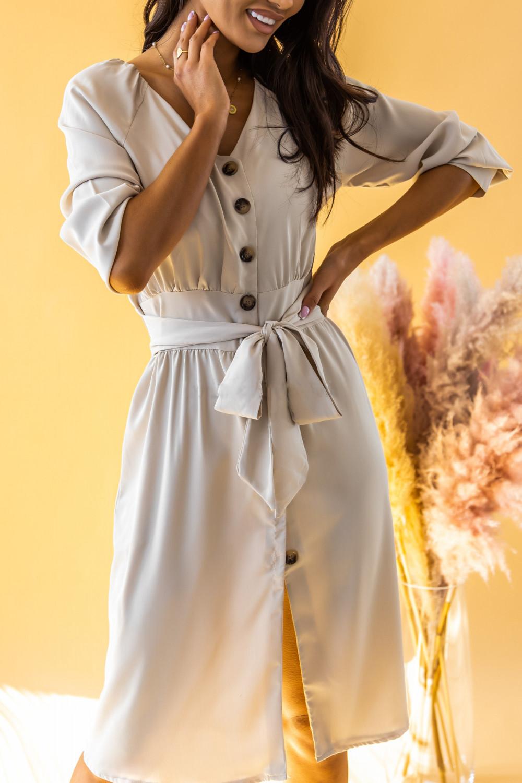Ecru sukienka koszulowa V-Neck z wiązaniem Oriana 3