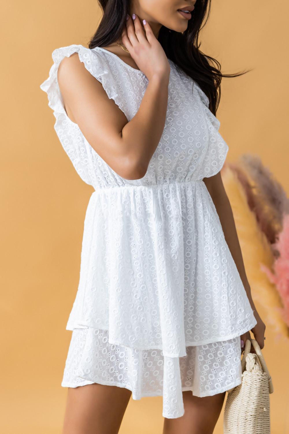 Biała rozkloszowana sukienka ażurowa z falbanką Federica 3