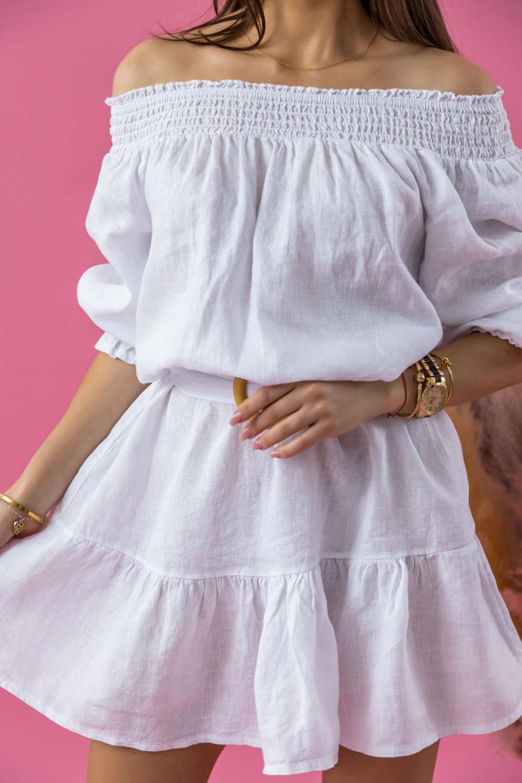 Biała rozkloszowana sukienka hiszpanka z paskiem Skyler 3
