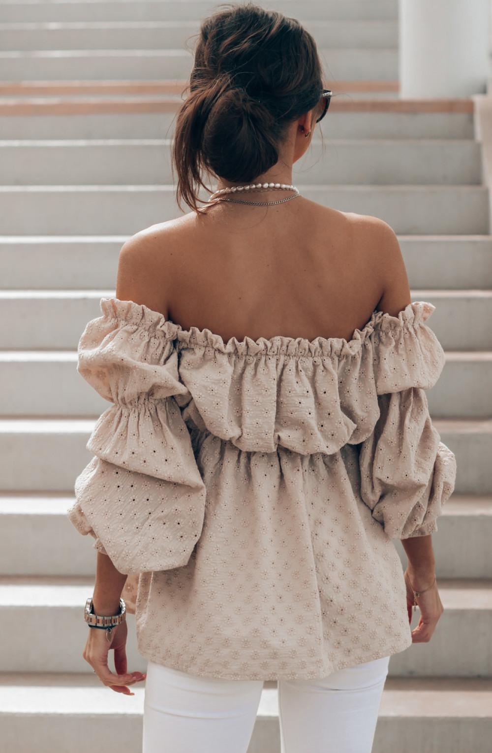 Beżowa haftowana bluzka hiszpanka Salma 2