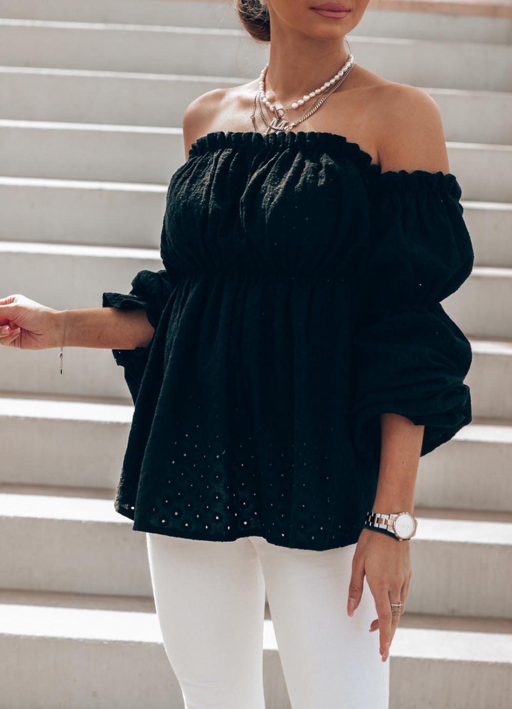 Czarna haftowana bluzka hiszpanka Salma 4