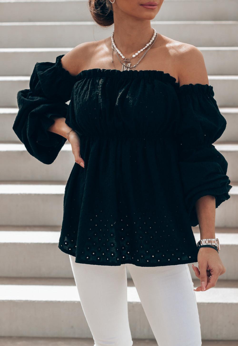 Czarna haftowana bluzka hiszpanka Salma 3