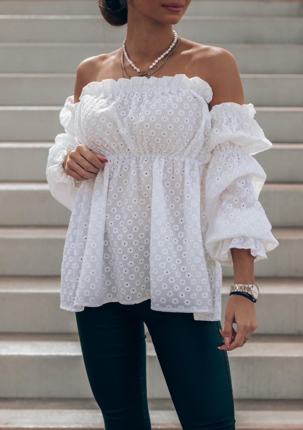 Biała haftowana bluzka hiszpanka Salma 3