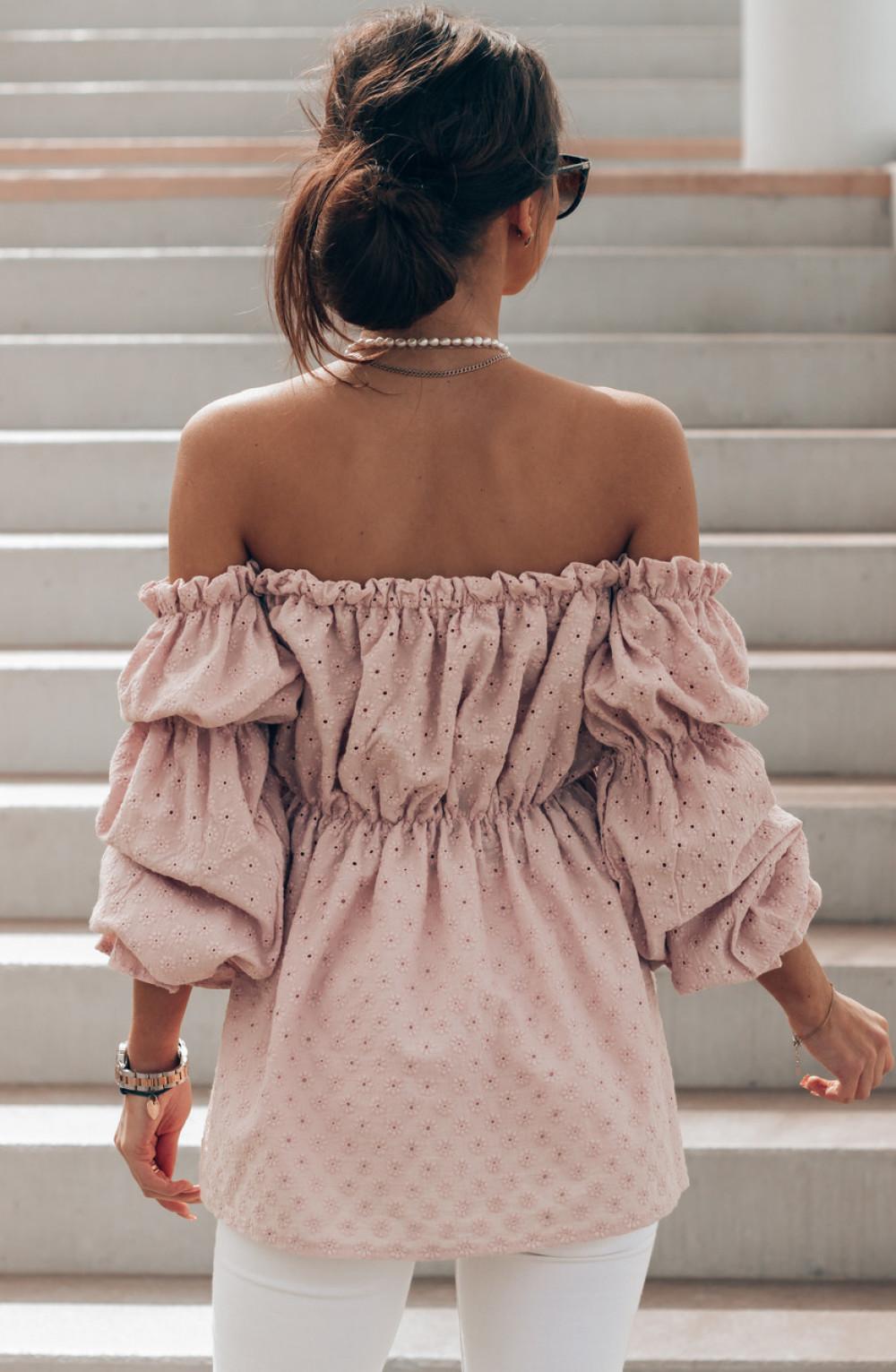 Jasnoróżowa haftowana bluzka hiszpanka Salma 2