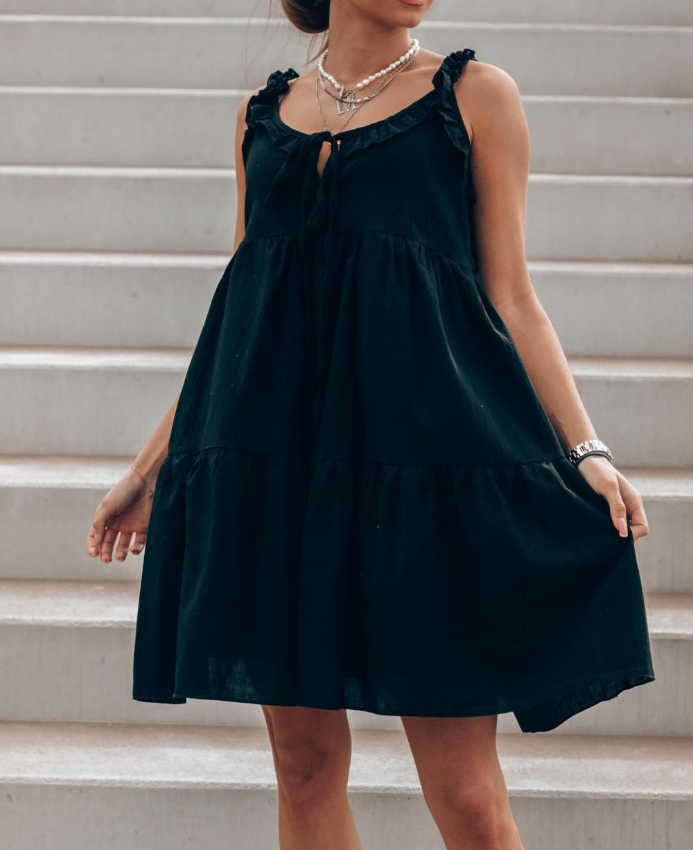 Czarna sukienka rozkloszowana z falbankami Blanca 3