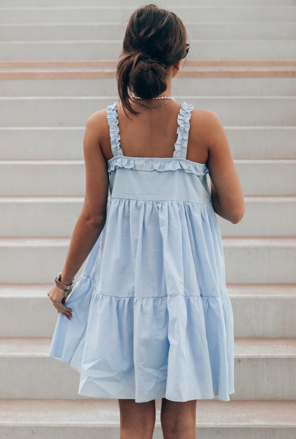 Jasnoniebieska sukienka rozkloszowana z falbankami Blanca 3