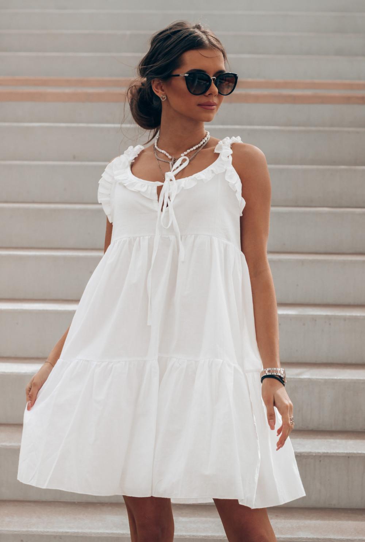 Biała sukienka rozkloszowana z falbankami Blanca 1