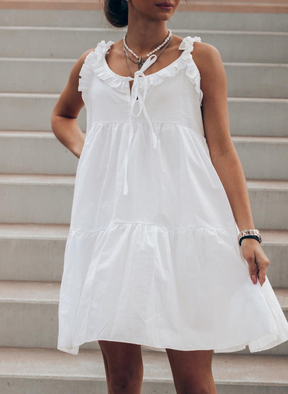 Biała sukienka rozkloszowana z falbankami Blanca 2