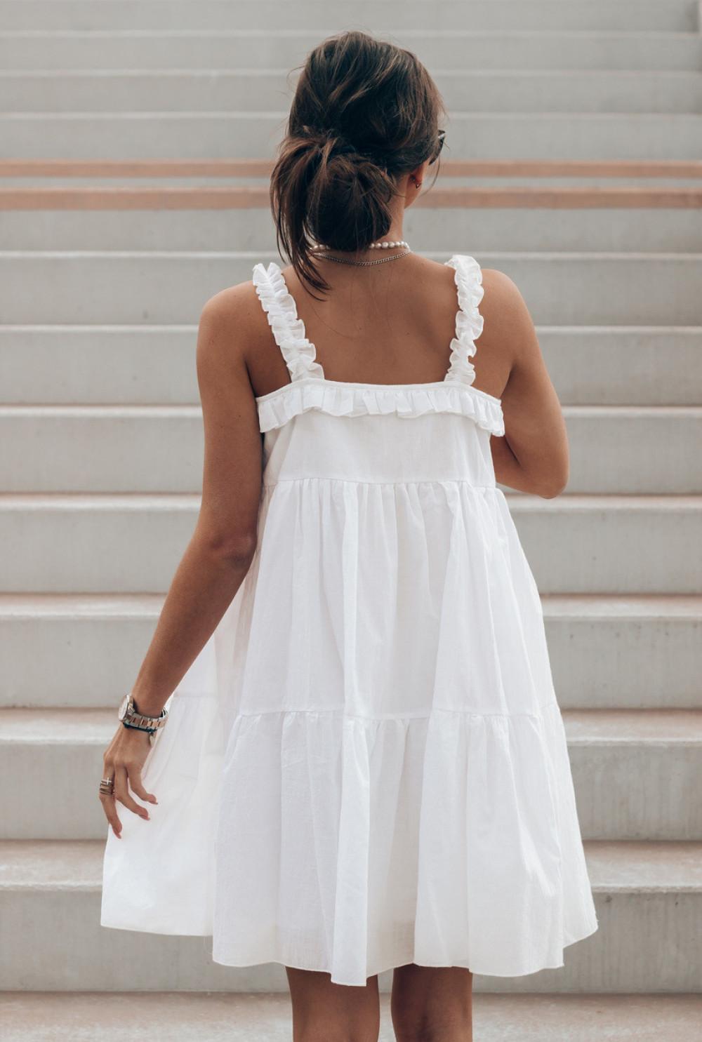 Biała sukienka rozkloszowana z falbankami Blanca 3