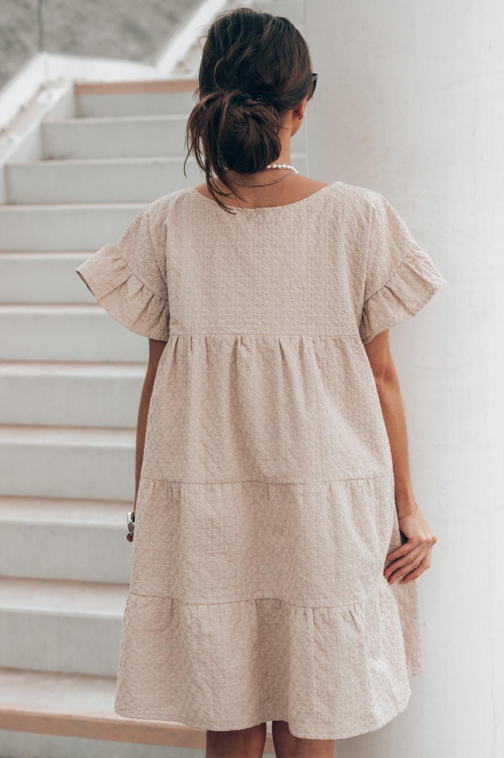 Beżowa sukienka haftowana oversize Melania 3