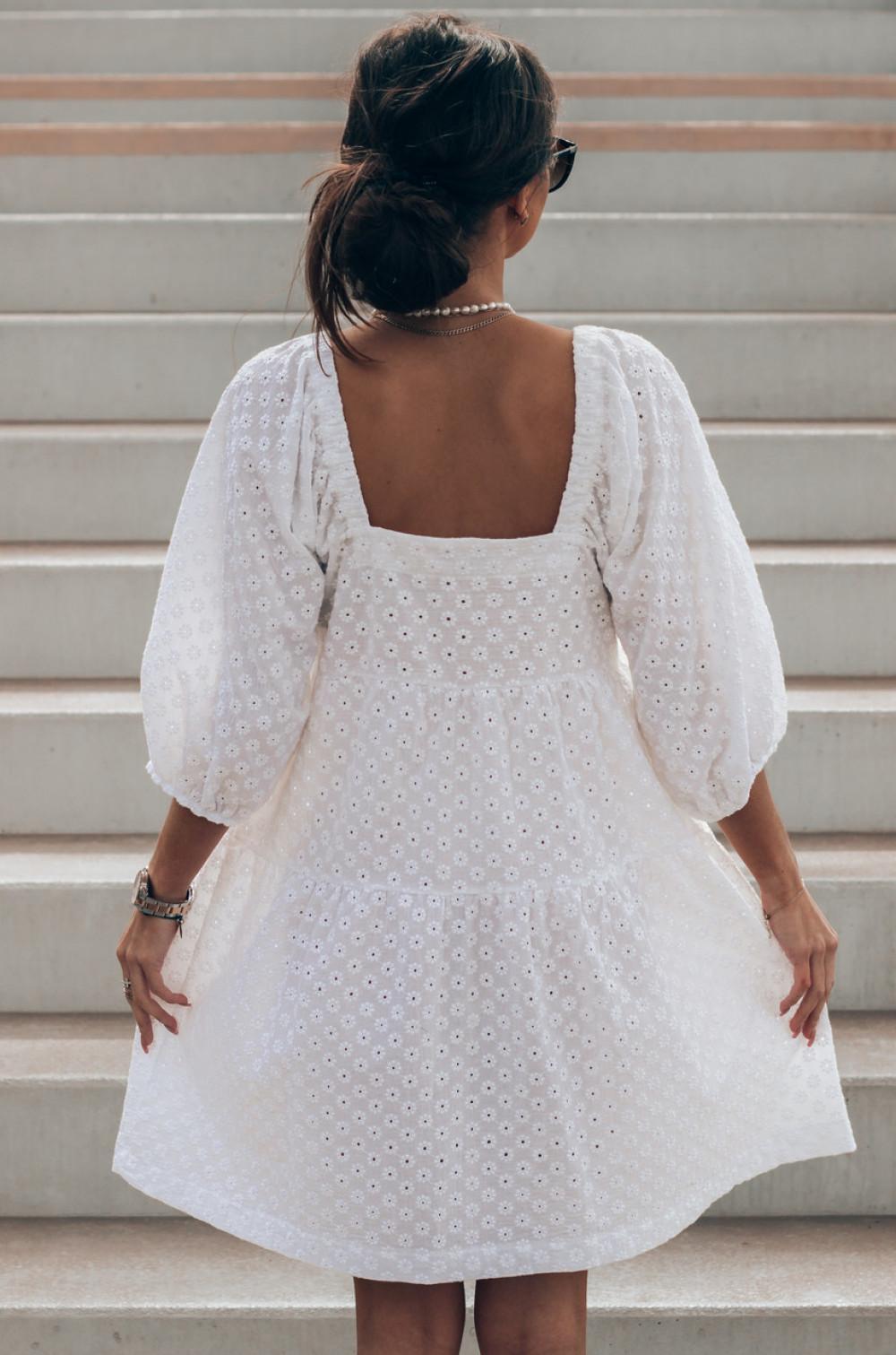 Biała ażurowa sukienka hiszpanka Juliana 3
