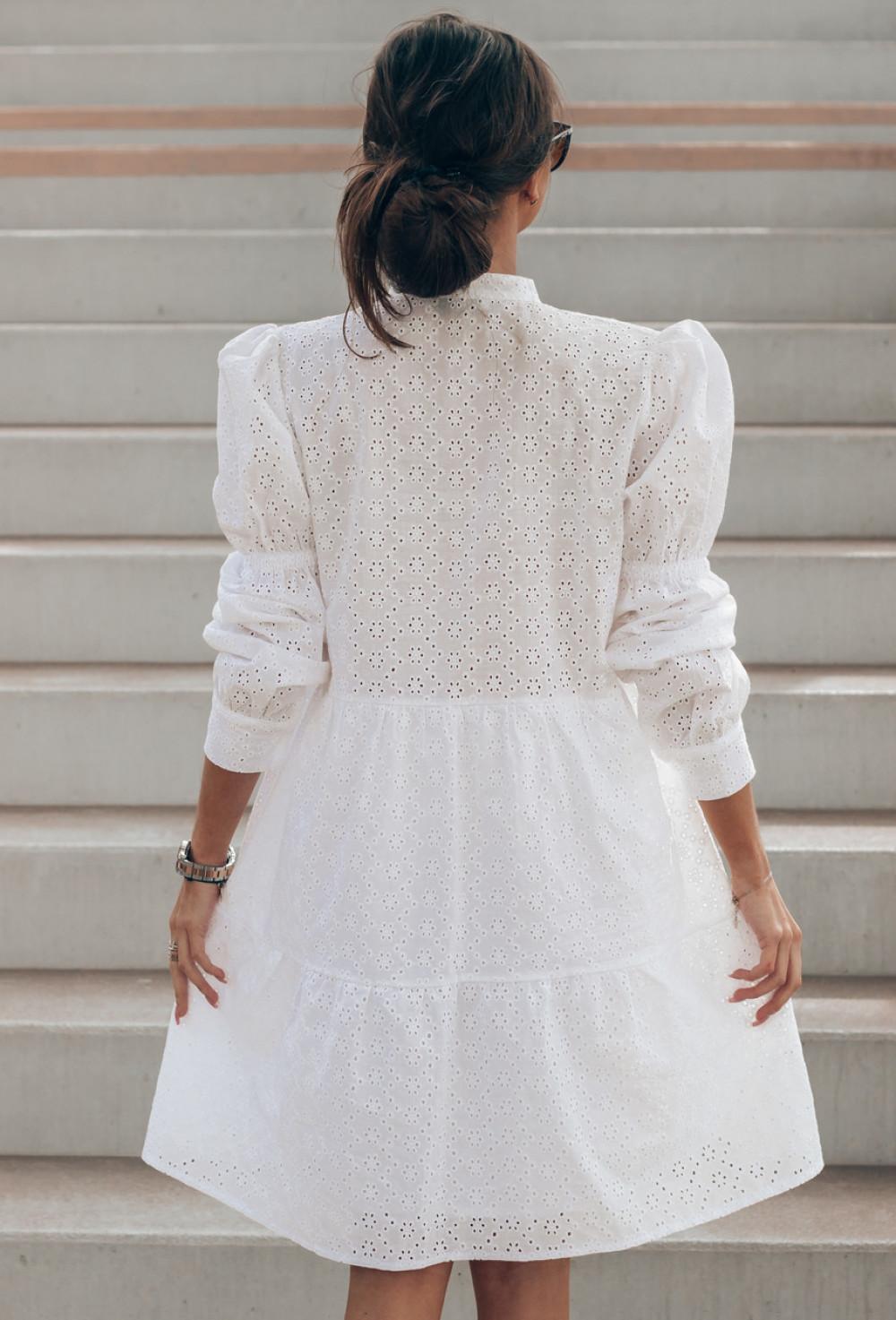 Biała ażurowa sukienka rozkloszowana Esther 3