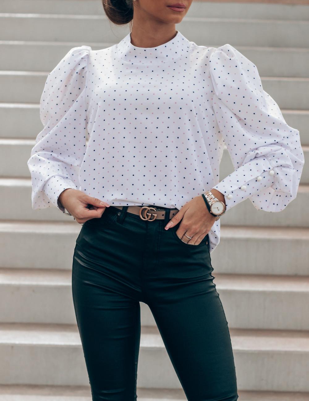 Ecru bluzka w kropki z bufiastymi rękawami Lorena 2