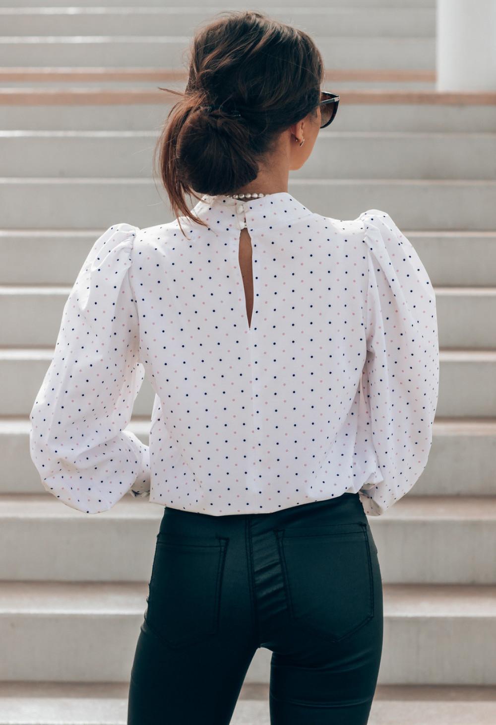 Ecru bluzka w kropki z bufiastymi rękawami Lorena 3