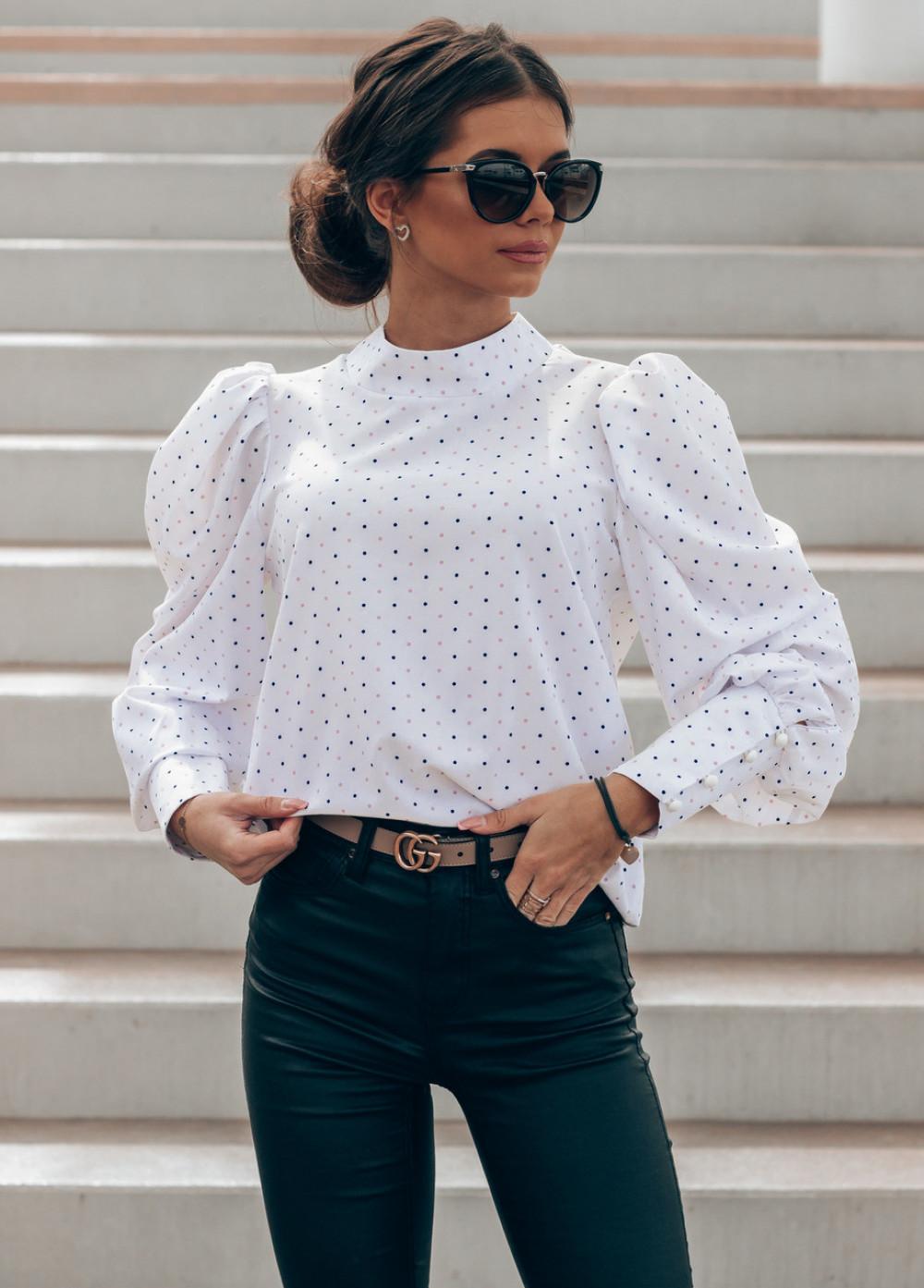 Ecru bluzka w kropki z bufiastymi rękawami Lorena 1