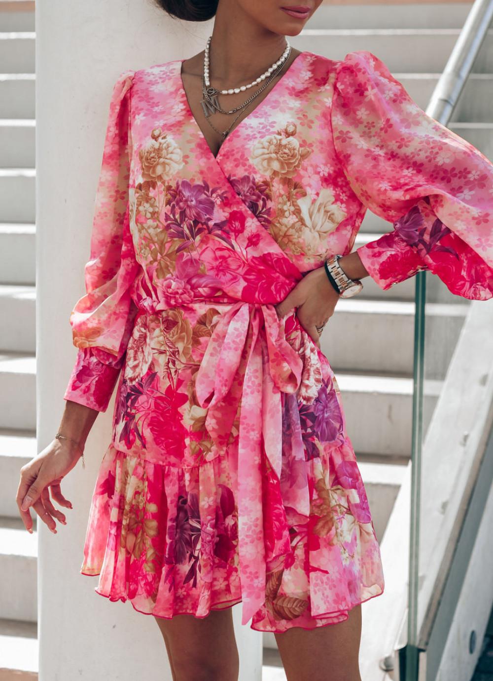 Różowa sukienka szyfonowa w kwiaty Flores 1