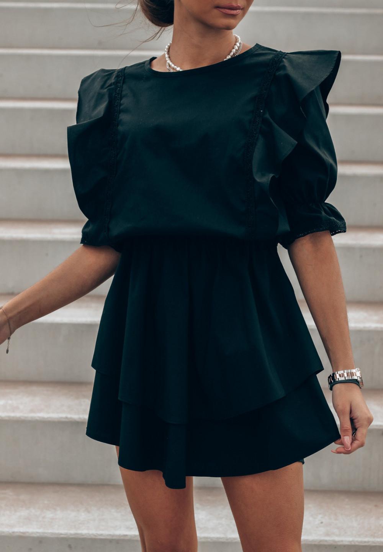 Czarna bawełniana sukienka rozkloszowana z haftem Noelia 2