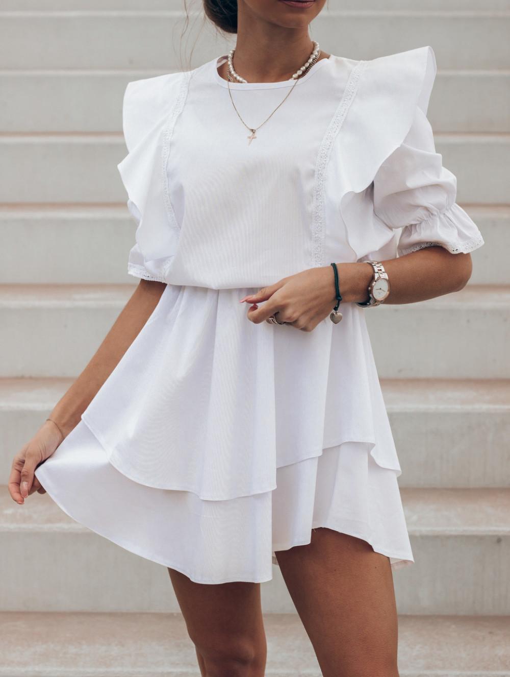 Biała bawełniana sukienka rozkloszowana z haftem Noelia 2