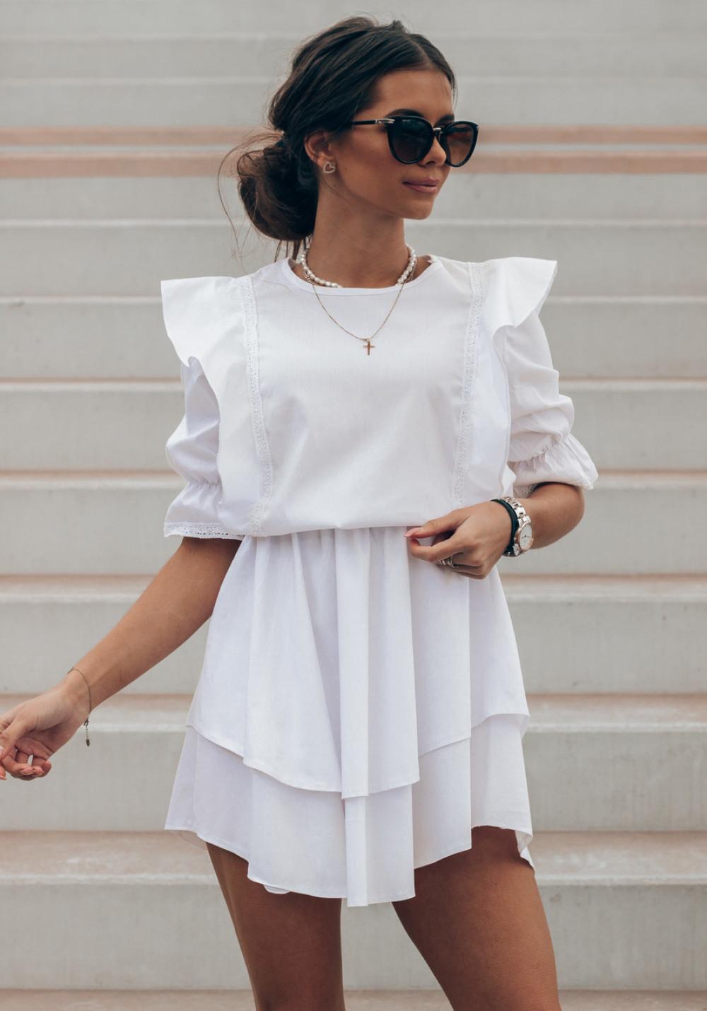 Biała bawełniana sukienka rozkloszowana z haftem Noelia 1