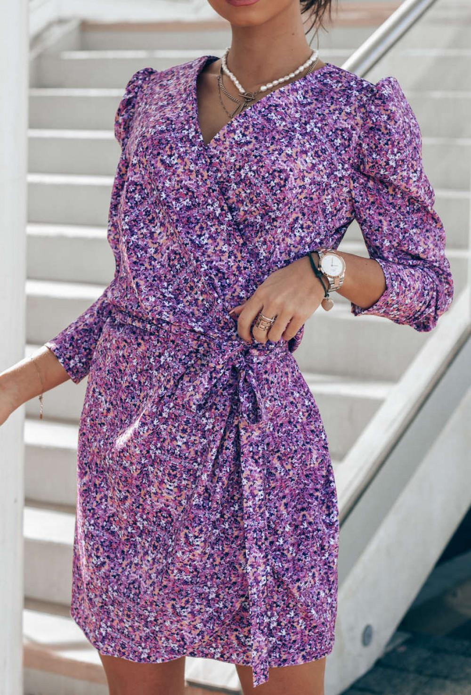 Fioletowa sukienka kwiatowa kopertowa V-Neck Maribel 2