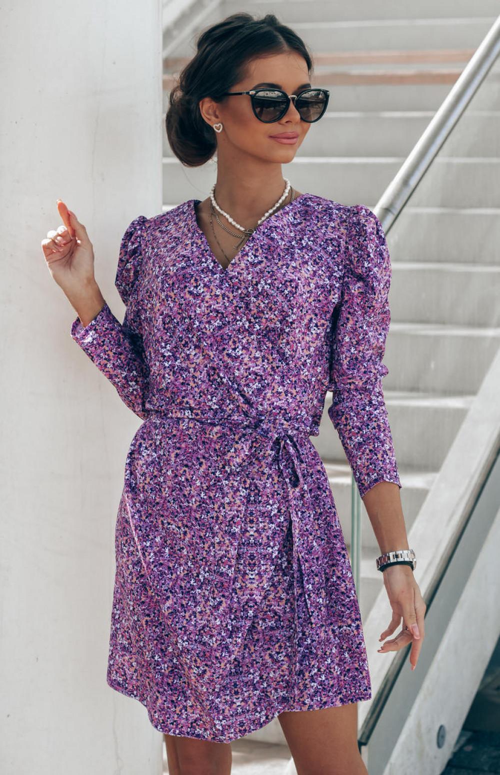 Fioletowa sukienka kwiatowa kopertowa V-Neck Maribel 1