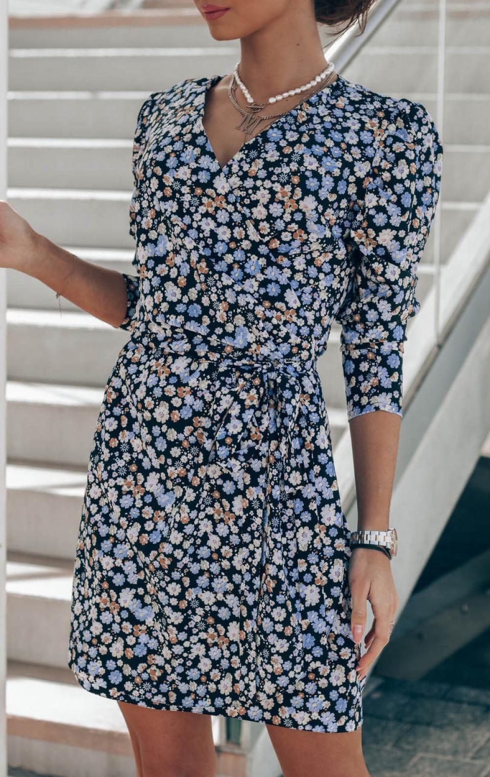 Czarno-niebieska sukienka kwiatowa kopertowa V-Neck Maribel 5