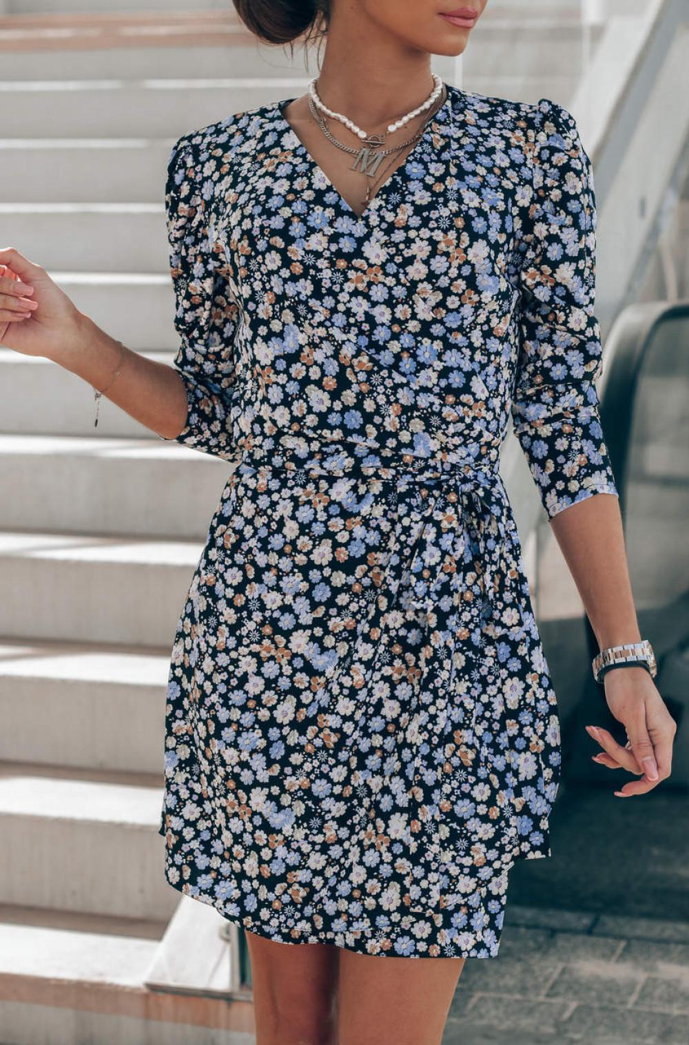 Czarno-niebieska sukienka kwiatowa kopertowa V-Neck Maribel 7