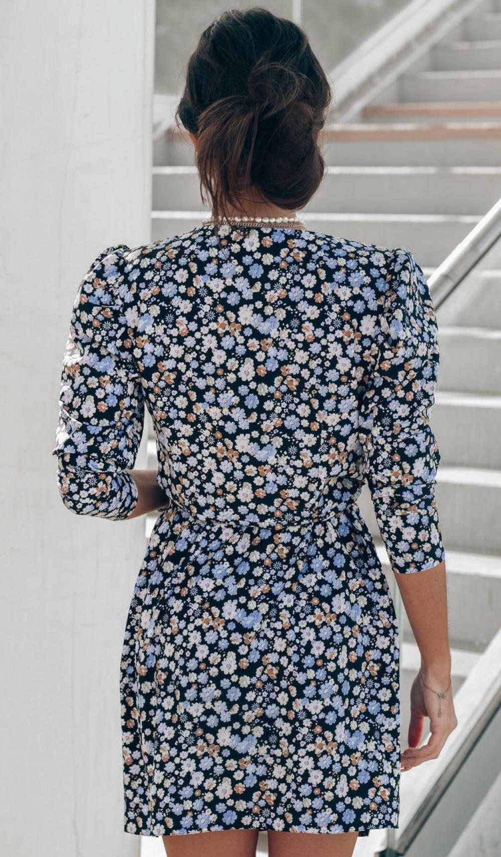 Czarno-niebieska sukienka kwiatowa kopertowa V-Neck Maribel 8
