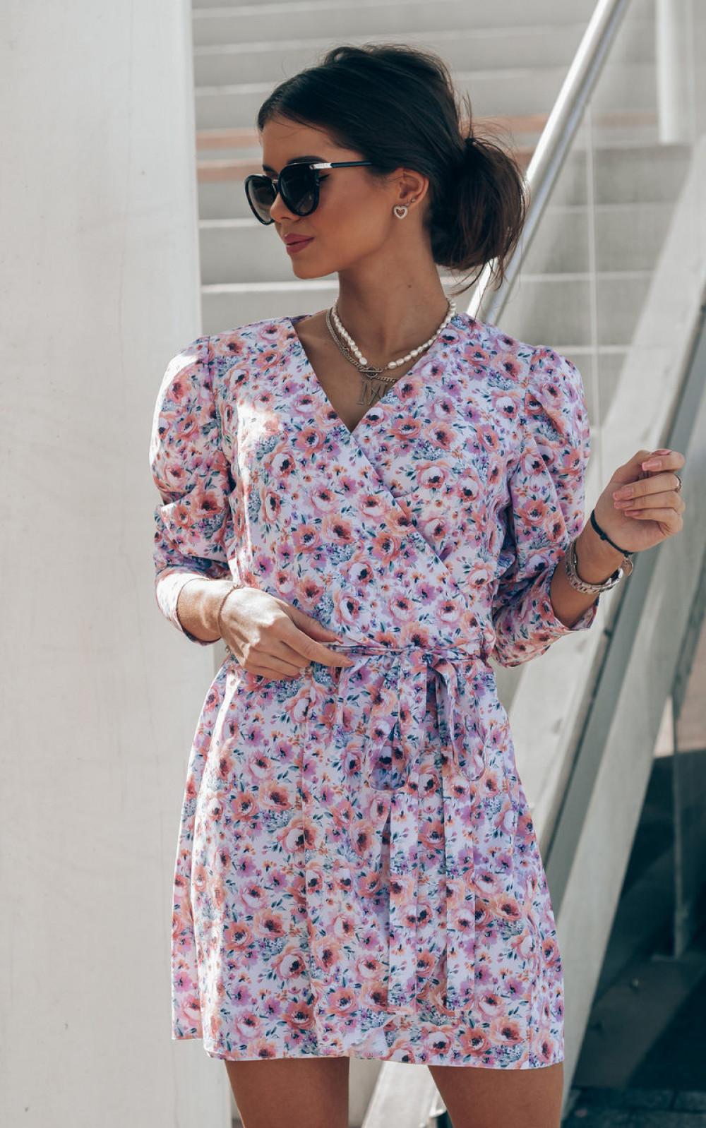 Różowo-niebieska sukienka kwiatowa kopertowa V-Neck Maribel 3