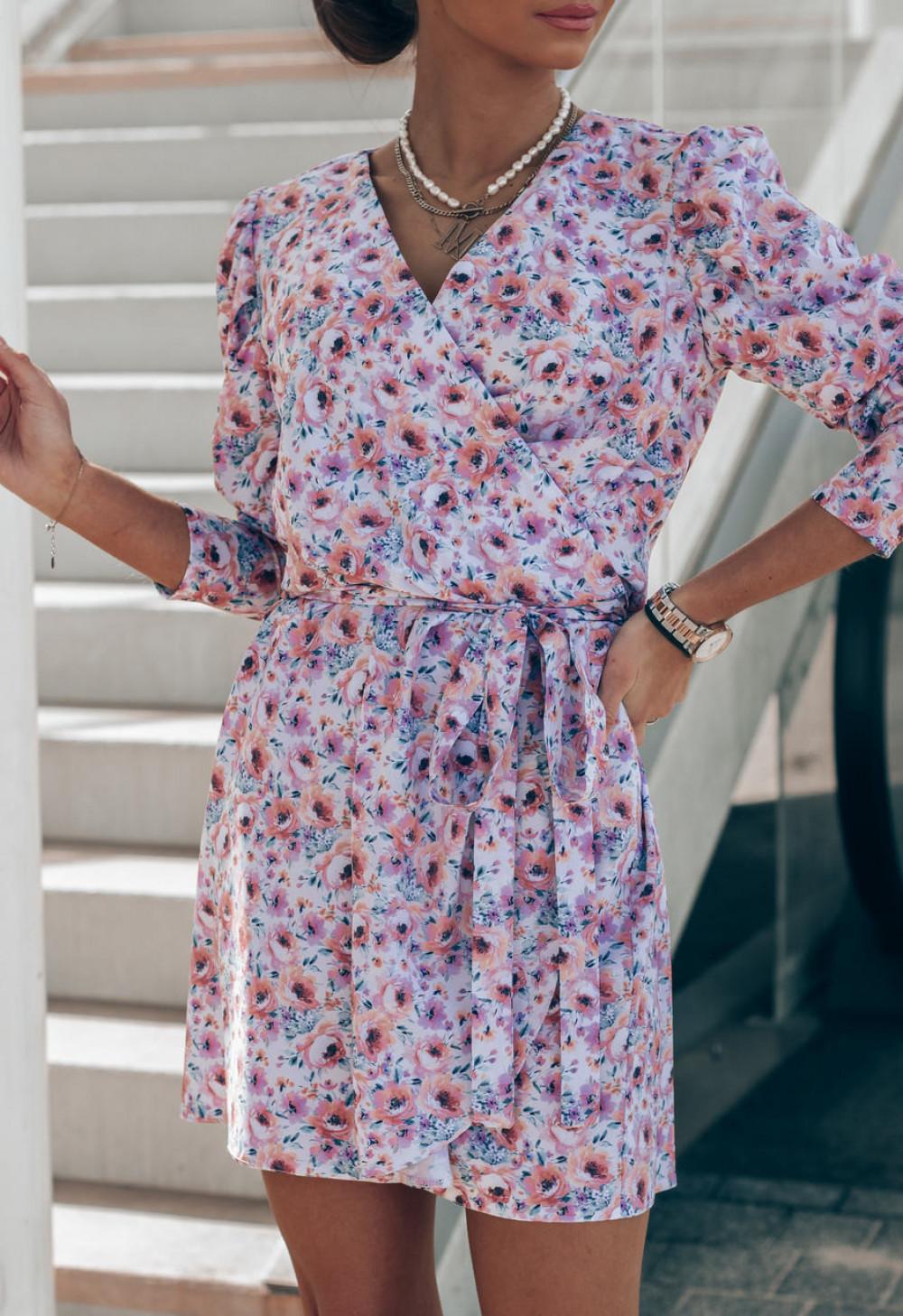 Różowo-niebieska sukienka kwiatowa kopertowa V-Neck Maribel 4