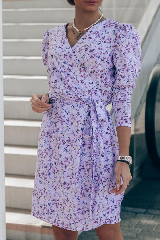 Liliowa sukienka kwiatowa kopertowa V-Neck Maribel 3