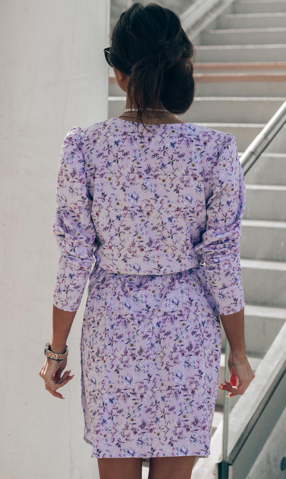 Liliowa sukienka kwiatowa kopertowa V-Neck Maribel 5