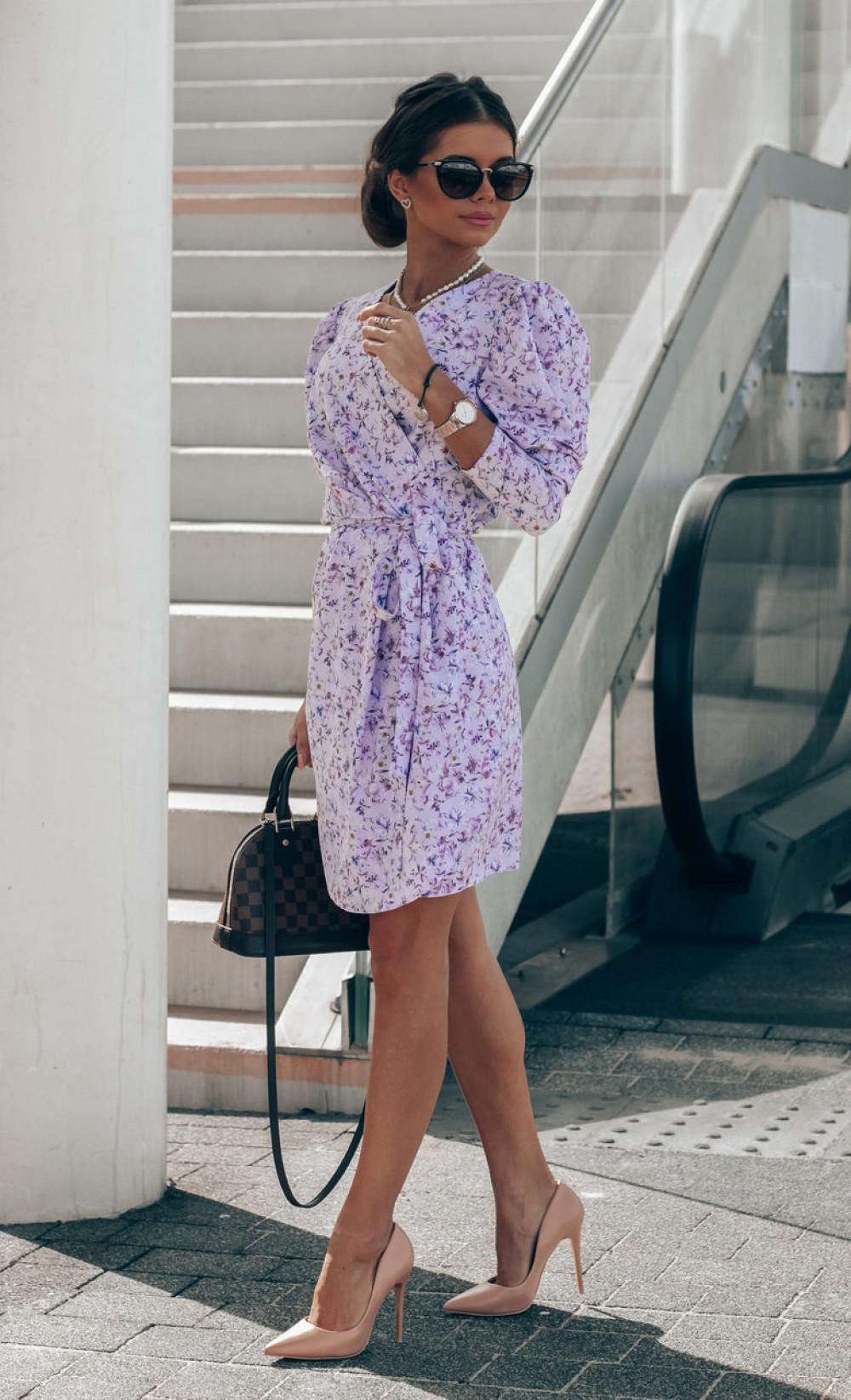 Liliowa sukienka kwiatowa kopertowa V-Neck Maribel 2