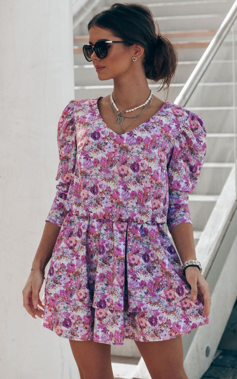 Fioletowo-różowa sukienka rozkloszowana V-Neck Merche 1