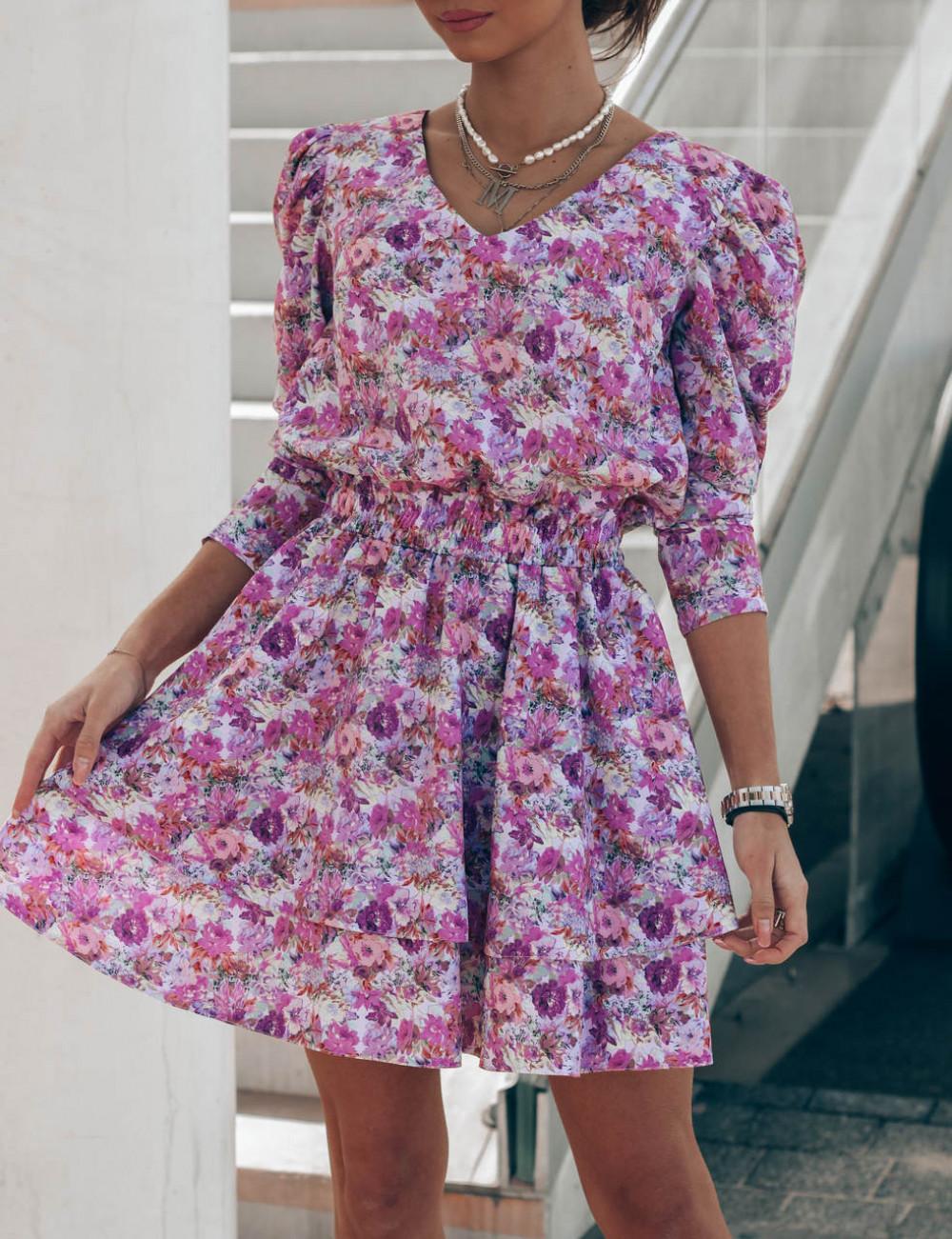 Fioletowo-różowa sukienka rozkloszowana V-Neck Merche 2