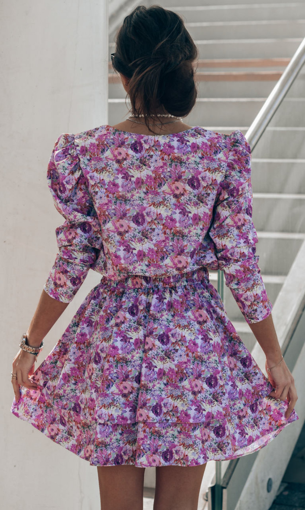 Fioletowo-różowa sukienka rozkloszowana V-Neck Merche 4