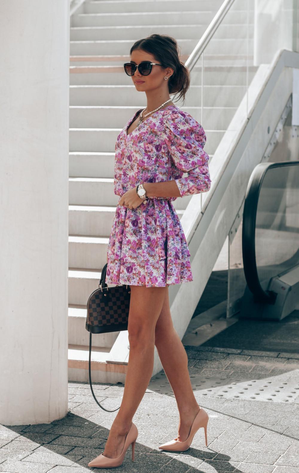 Fioletowo-różowa sukienka rozkloszowana V-Neck Merche 3