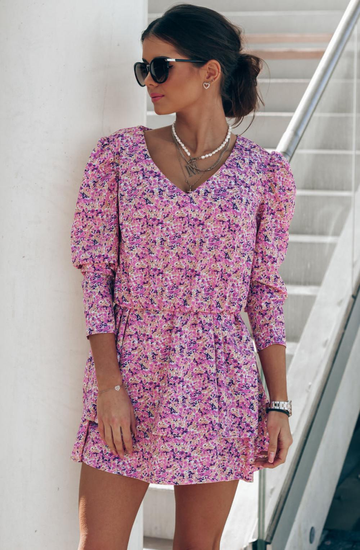 Różowa sukienka rozkloszowana V-Neck Merche 2