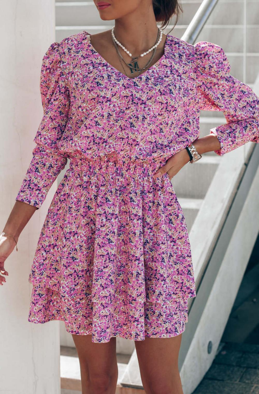 Różowa sukienka rozkloszowana V-Neck Merche 1
