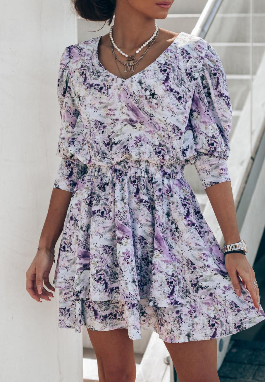 Niebiesko-fioletowa sukienka rozkloszowana V-Neck Merche 2