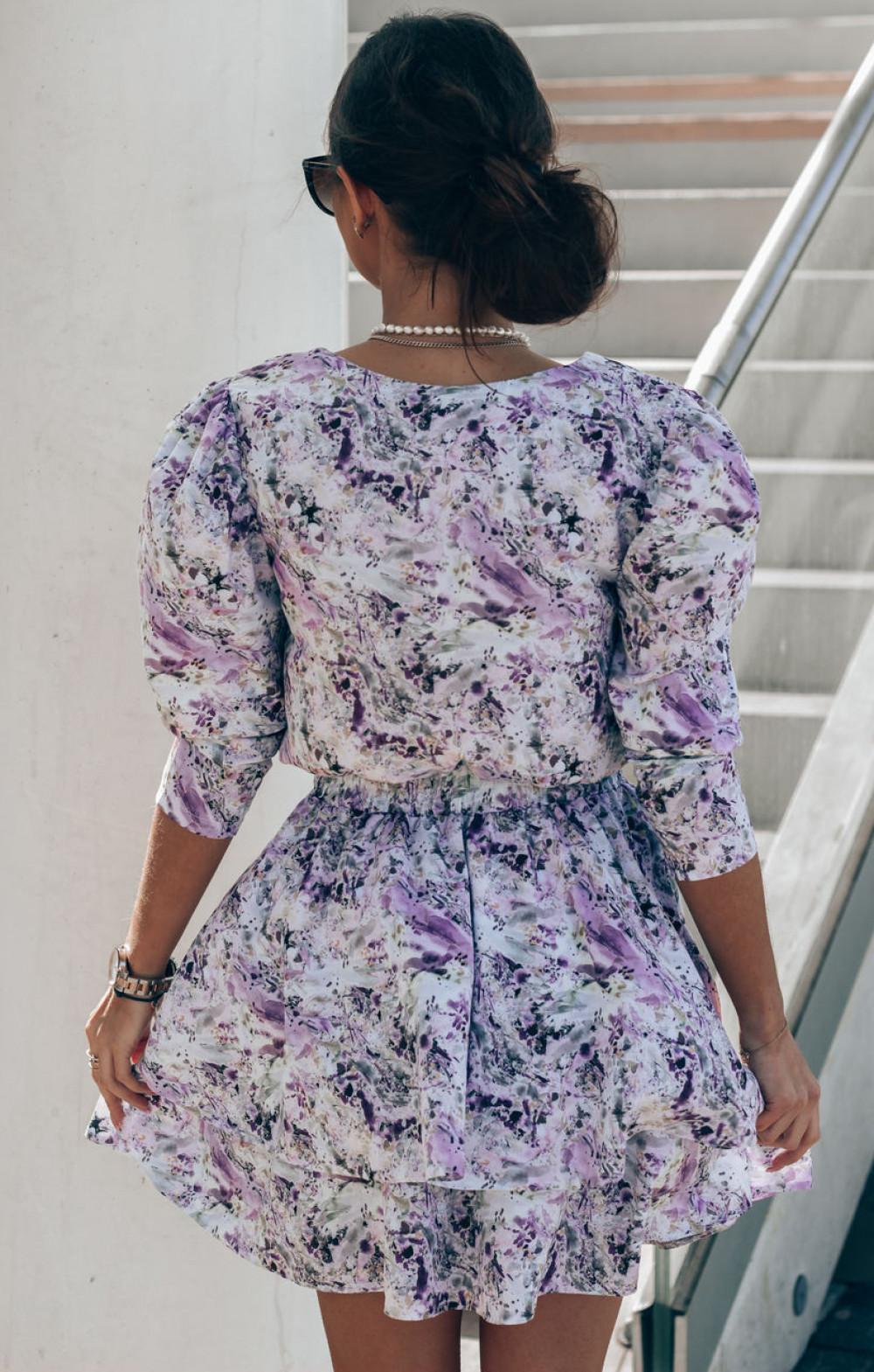 Niebiesko-fioletowa sukienka rozkloszowana V-Neck Merche 4