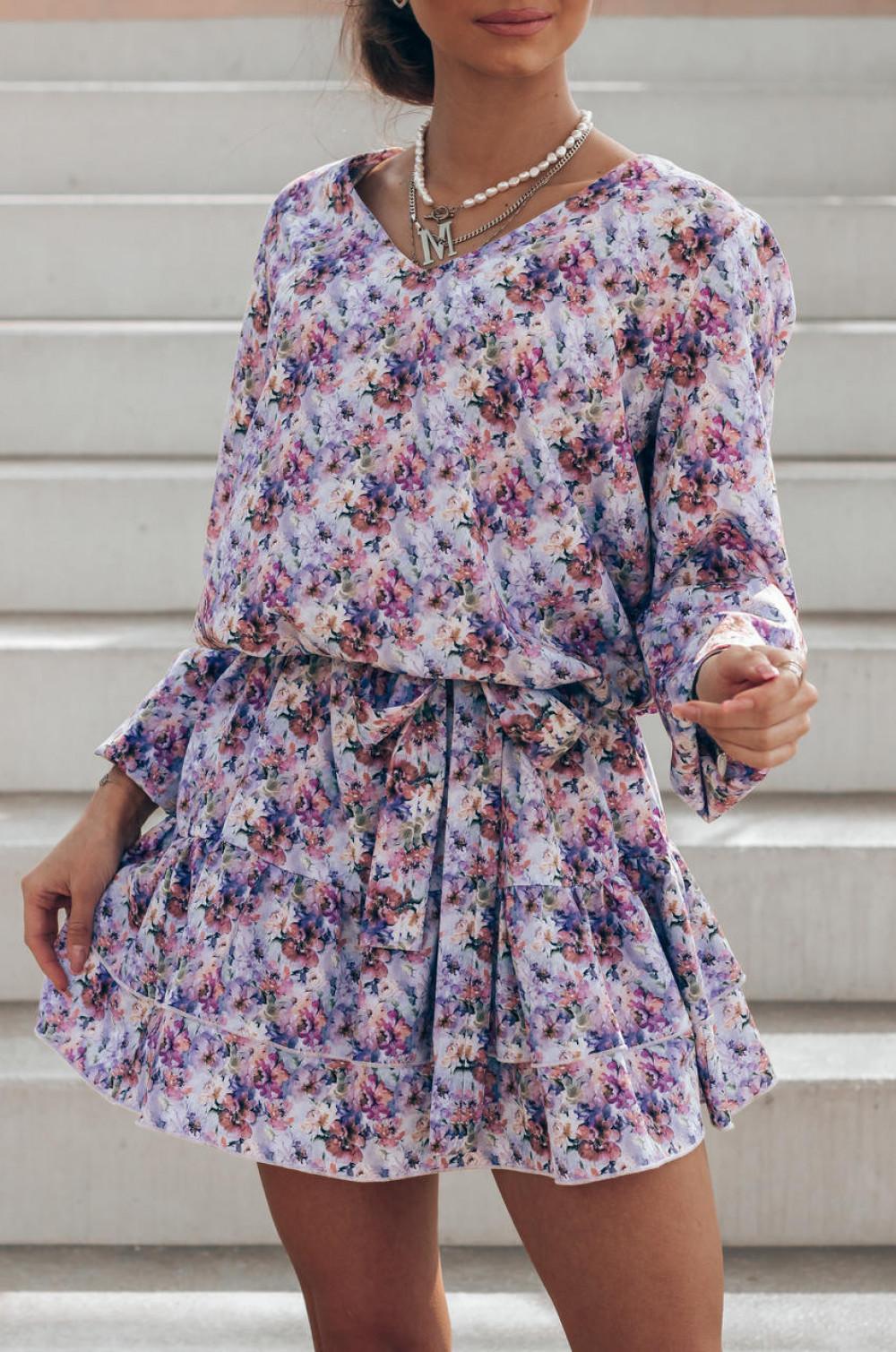 Lawendowa pastelowa sukienka rozkloszowana z falbankami V-Neck Susana 2