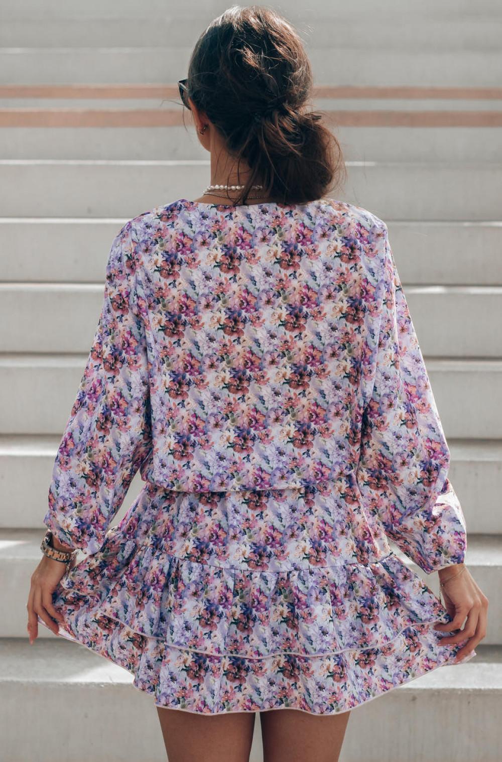 Lawendowa pastelowa sukienka rozkloszowana z falbankami V-Neck Susana 4