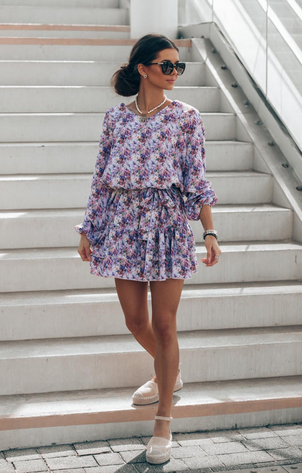 Lawendowa pastelowa sukienka rozkloszowana z falbankami V-Neck Susana 3