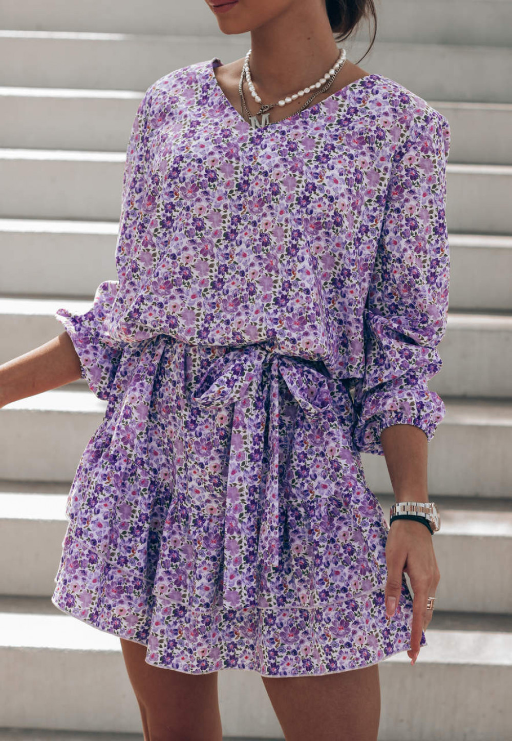 Fioletowo-niebieska sukienka rozkloszowana z falbankami V-Neck Susana 2