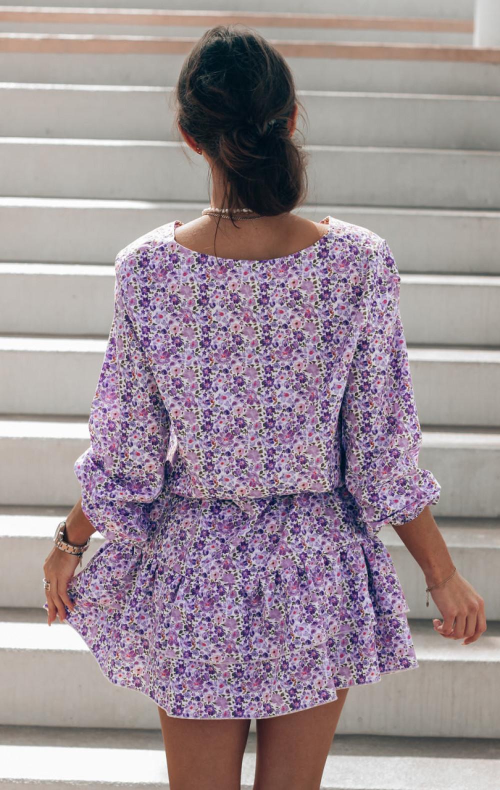 Fioletowo-niebieska sukienka rozkloszowana z falbankami V-Neck Susana 4