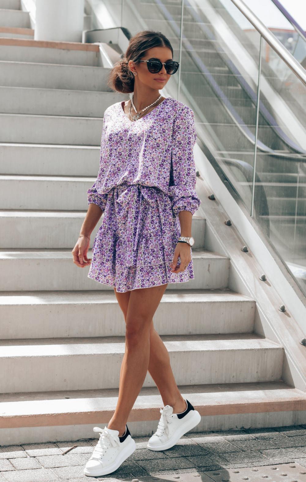 Fioletowo-niebieska sukienka rozkloszowana z falbankami V-Neck Susana 3