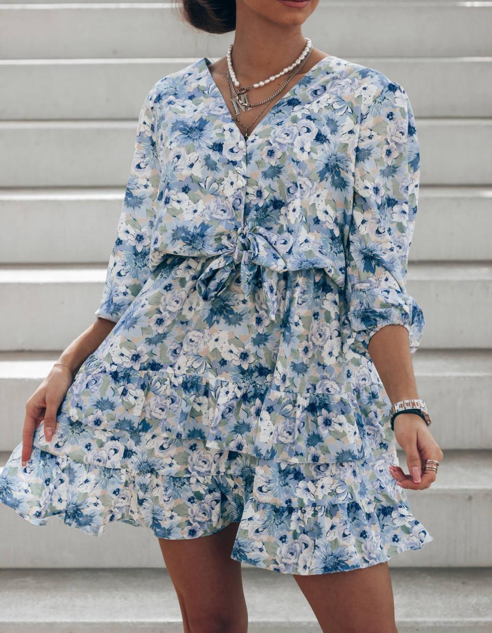 Niebieska sukienka kwiatowa rozkloszowana z falbankami Abella 2